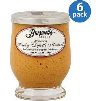 Braswell's Select Smoky Chipotle Mustard, 9 oz, (Pack of 6)