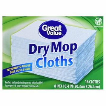 Great Value Dry Mop Cloths, 8