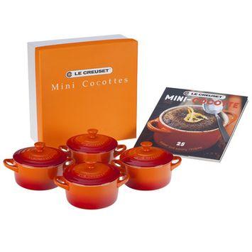 Le Creuset Set of 4 Round Stoneware Mini Cocottes, Flame Orange
