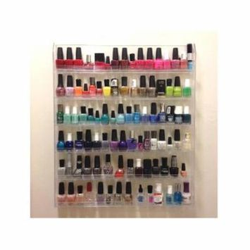 Beauticom Clear 6 Tiers Professional Acrylic Nail Polish Wall Rack Display (Holds up to 96 Bottles)