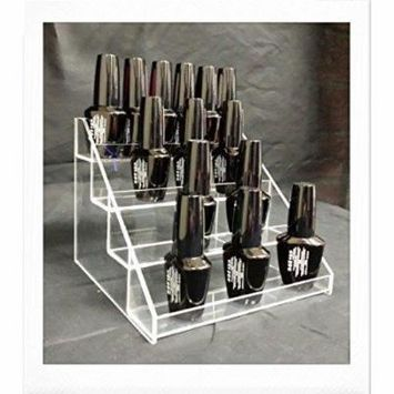Beauticom Clear 4 Tier Acrylic Nail Polish Counter Display Stand (Fit up to 24 Bottles)