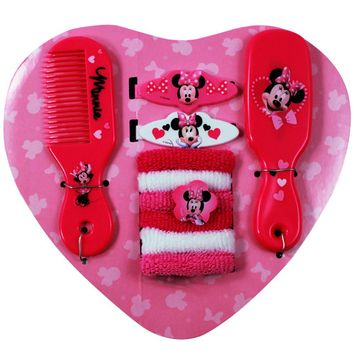 10pc Disney Minnie Mouse Heart Shaped Hair Accessory Girls Backpack Ponies Comb