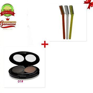 EYX Formula Dark Brown Eyebrow Powder Palette with Eyebrow Razor on Sale