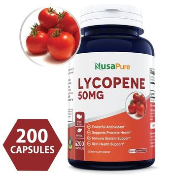 Best Lycopene 50MG 200 Capsules (NON-GMO & Gluten Free) Antioxidant 100% Natural Tomato Great For Prostate Health, Immune System Support, Heart Health, Eyesight Support - 100% MONEY BACK GUARANTEE