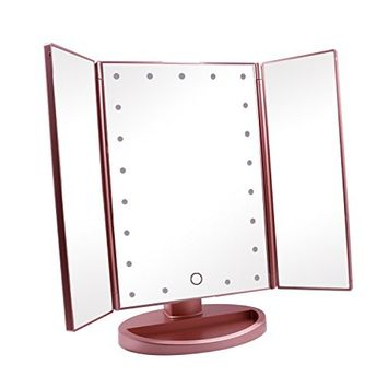 Coles Organic Supplies 24 TRI Fold Lighted Vanity LED Makeup Mirror (Rose)
