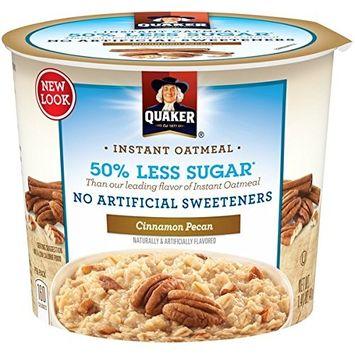 Quaker Instant Oatmeal 50% Less Sugar, Cinnamon Pecan, 1.41oz cup (Pack of 2)