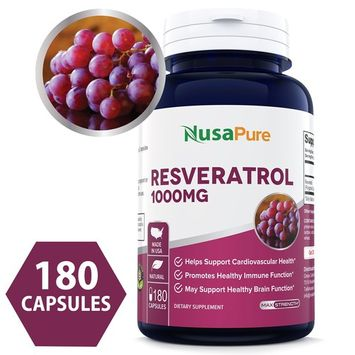 Best Resveratrol 1000mg 180caps (Non-GMO & Gluten Free) Promotes Heart Health and Balances Blood Pressure, Helps Balance Hormones - Proudly Made in USA - 100% Money Back Guarantee!
