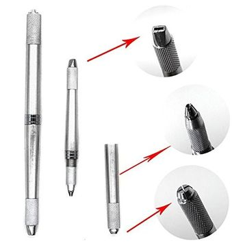 VANKER Multi-Function Double-Ended Permanent Eyebrow Makeup Manual Tattoo Pen Silver