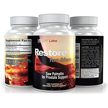 LFI Restore For Men - 100% Pure Saw Palmetto Capsules For Prostate Health - Reduce Frequent Urination & DHT Blocker To Fight Hair Loss - 500mg Natural Supplement - Over Three Month Supply