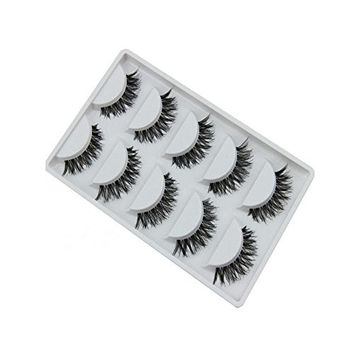 5 Pairs Black Cross Handmade Natural Long Eye Lashes Extension False Eyelashes Beauty Eyelashes Cosmetic Tools Set