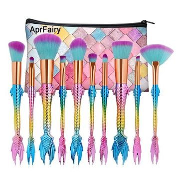 AprFairy 2017 Mermaid Makeup Brushes Set 10pcs with Pink Plaid Makeup Bag Ultra-soft Bristles Face Foundation Beauty Tools Blush Concealer Contouring Make Up Brush Kit - Green Pink Gradient
