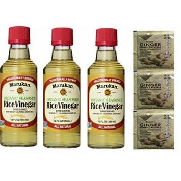 Marukan Seasoned Rice Vinegar, Organic, 12 Fl Oz (Pack of 3)Plus a Free Gift Instant Ginger Honey Crystals