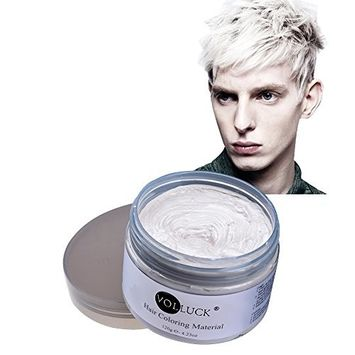 VOLLUCK White Hair Wax Pomades 4.23 oz - Disposable Natural Hair Styling Coloring Clays Ash Wax for Party, Cosplay