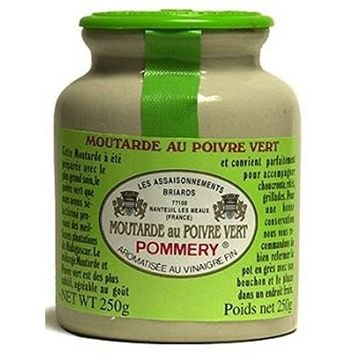 Pommery - Gourmet Green peppercorn Mustard from France in crock 8.8oz