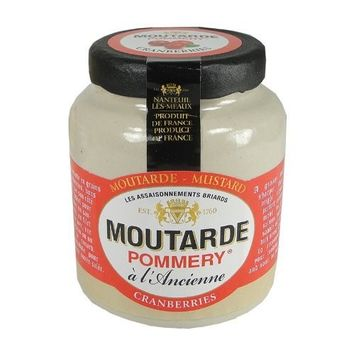 Pommery Mustard Meaux Moutarde in Pottery Crock with Cranberries