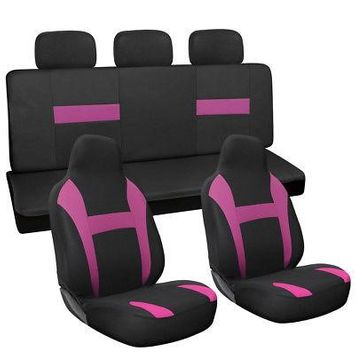 Istiloshoppe Car Accessories 7pc Full Set Pink Black Integrated + Matching Bench Car High Back Seat Covers