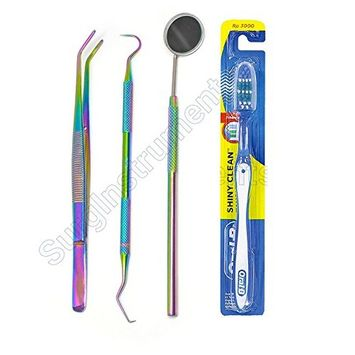 Professional Dental Hygiene Kit Titanium Rainbow 3pc Dental Pick + 1 Oral-B Toothbrush, Tartar Scraper, Mouth mirror and Forcep - Ideal For Personal Use & Pet Friendly for Deep Oral Cleaning