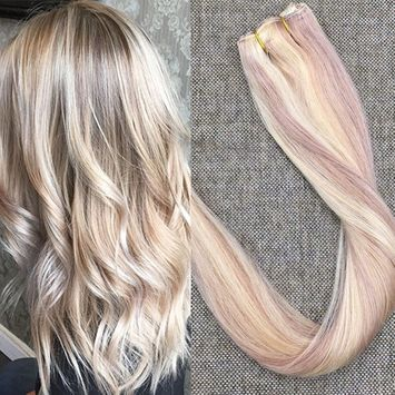 Full Shine 22 inch 100% One Piece Clip in Human Hair Extensions Color #18 Ash Blonde to Color #613 Bleach Blonde straight 3/4 Full Head Human Hair Extension 50g