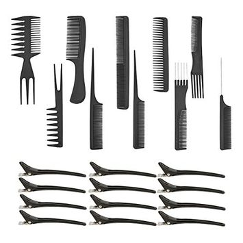 Dovewill 10 Pieces Salon Hair Cutting Hairdressing Barber Combs Brush Set+12 Clips