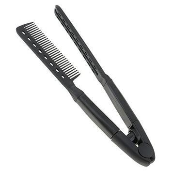 Dovewill Salon Barber Hairdresser Hairdressing Styling Comb, Hair Straightener Folding V Type Comb