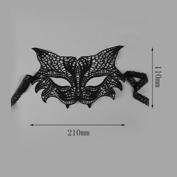 Hot Sale Fashionable Design Sexy Women Ladies Butterfly Bat Foxes Shape Lace Party Mask Halloween Face Makeup Accessories Black