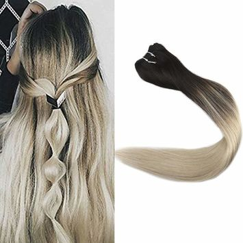 Full Shine 14 inch Balayage Ombre Human Hair Weft Remy Hair Extensions Dye Hair Color #1B Black Fading to #613 Blonde Double Weft Real Hair Bundles 100g/package