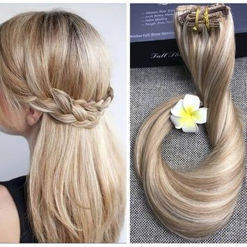 Full Shine 24inch Blonde Highlighted Human Extensions Ombre Balayage Double Weft Remy Real Human Hair Extensions Straight Clip Ins Color #10 and #613 9Pcs 120 Gram