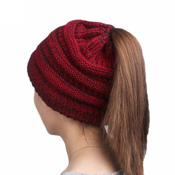 Women's Winter Chunky Cable Knit BeanieTail High Bun Ponytail Beanie Hat Cap