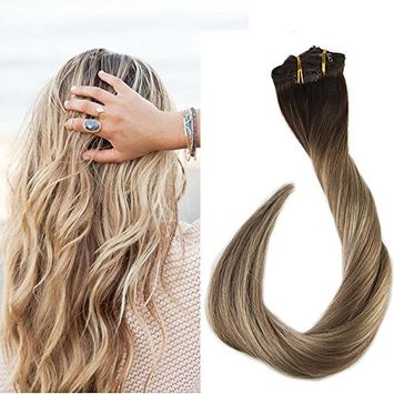 Full Shine 16 inch Clip In Real Human Hair Extensions Balayage Hair Highlighted Hair Color #3 Fading to #8 and #22 Blonde Ombre Hair 7Pcs 100gram