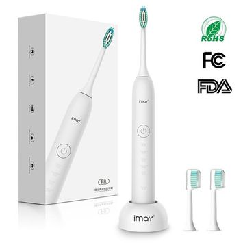 imay Sonic Electric Toothbrush with 5 Modes Deep Clean Waterproof Smart Timer Cordless Inductive Rechargeable Sonic Toothbrush 3 Count Replacement Brush Heads