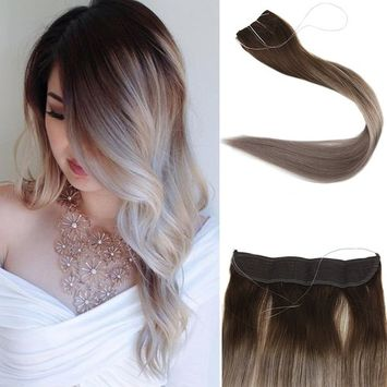 Full Shine 20inch Color #4 Dark Brown Fading to Color #18 Balayage Remy Extensions Fish Line 100g Hairpieces No Clips No Gule