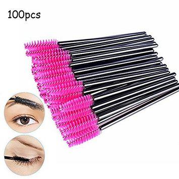 Atomus 100 Pack Disposable Eyelash Mascara Brushes Wands Applicator Makeup Brush Kits Pink
