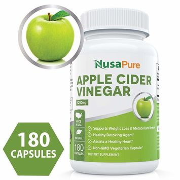 Pure Apple Cider Vinegar 1250mg 180 Capsules Vegetarian, Non-GMO & Gluten Free - Tasteless Extra Strength - All Natural Detox, Digestion, Weight Management - Vegan ★100% Money Back Guarantee!★