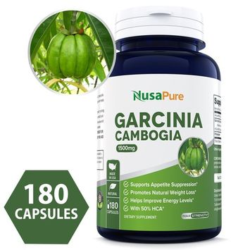 Pure Garcinia Cambogia 180 caps 1500mg (Non-GMO & Gluten Free) - Best Weight Loss Supplement - Natural Appetite Suppressant - 100% Money Back Guarantee - Order Risk Free!