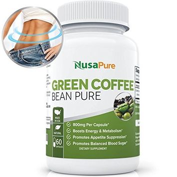 Green Coffee Bean Extract Pure for Weight Loss: Vegetarian: Highest Grade, Quality Antioxidant GCA (Standardized to 50% Chlorogenic Acid): Burns Both Fat and Sugar: Lose Weight Fast: 60 Capsules
