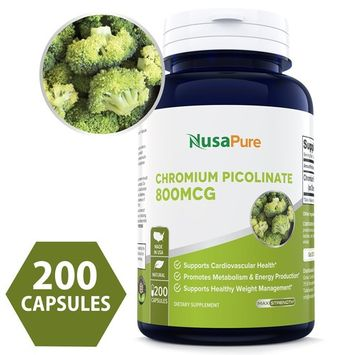 Chromium Picolinate 1000mcg 240 Veggie Capsules [Non-GMO & Gluten Free] - Support Weight Management, Cardiovascular Function, Sugar Metabolism