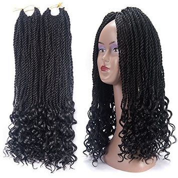 Curly Senegalese Twist Crochet Hair Braiding Crochet Braids Hair Synthetic Hair Extensions 20inch 6Packs 30Strands/Pack 1B#