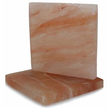 IndusClassic SSP-07 Himalayan Salt Block, Plate, Slab for Cooking, Grilling, Seasoning, And Serving (8X8X1 Set of 2)