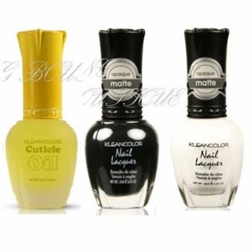 LWS LA Wholesale Store 3 Kleancolor Nail Polish Madly Matte White Matte Black Pamper Treatment Cuticle