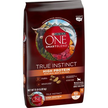 Purina ONE Natural, High Protein Dry Dog Food; SmartBlend True Instinct With Real Beef & Salmon - 15 lb. Bag