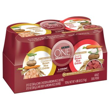 Purina Petcare ONE Classic Ground Chicken Brown Rice & Beef Brown Rice Entrée Wet Dog Food 13 oz cans, 6 pack