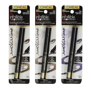 L'Oreal Paris Infallible Never Fail 14Hr Smokissime Powder Eyeliner 3-Piece Set (Brown, Taupe, & Purple Smoke)
