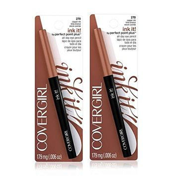 2pcs COVERGIRL Ink It! By Perfect Point Plus Waterproof Eyeliner Copper Ink 270, .006 oz