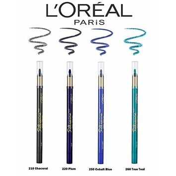 (5 Set) L'Oreal Paris Silkissime by Infallible Eyeliner (Charcoal, Plum, Highlighter, Cobalt Blue, True Teal) : Beauty