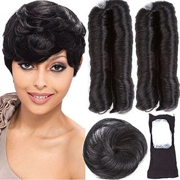 VRHOT 28 Pieces Human Hair Weaves with Top Closure Brazilian Virgin Hair Weave Wavy Curly Short 27Pcs Hair with Closure Free Wig Cap Shower Cap 2'' 3'' 4'' 100g 1B (2'' 3'' 4'', 2)