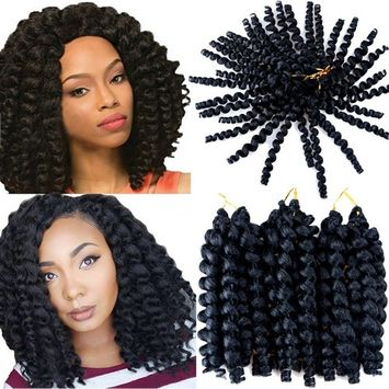 VRHOT 3Packs 8'' Wand Curl Crochet Hair Jamaican Bounce Braids Synthetic Hair Extensions Ombre Jumpy Wand Curl Crochet Braiding Hair Havana Mambo Twist 1B 20 Roods/pack (8'' (3 Packs), 1B)