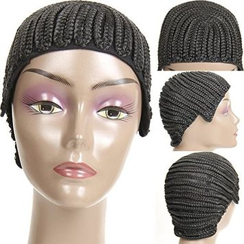 VRHOT Wig Caps Braided Crochet Wig Caps Cornrow for Making Wig Weave Hair Nets with Synthetic Weaving Braids Cap Combs Adjustable Breathable Black 1pc