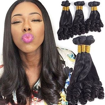 VRHOT 10A Funmi Hair Bundles Brazilian Virgin Human Hair Extensions Curly Unprocessed Natural Color Hair Weaves 3 Bundles Hair Wefts for Black Women 100g/bundle (12'' 14'' 16'', Natural Color)