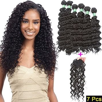 VRHOT 7pcs Set Synthetic Hair Bundles Deep Wave with Closure Synthetic Hair Extensions Weaves Wavy Braiding Hair 6 Bundles with 1pc Top Closure 1B (16