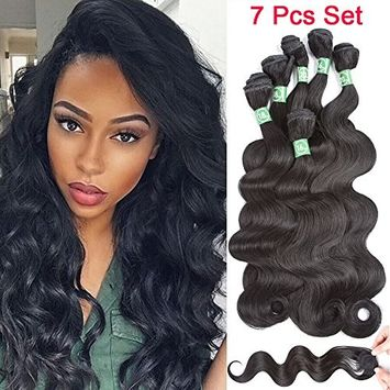 VRHOT 7pcs Set Body wave Bundles with Closure Synthetic Hair Extensions Braiding Hair Weaves Wavy Dreadlocks 6 Bundles with 1pc Closure 1B (16